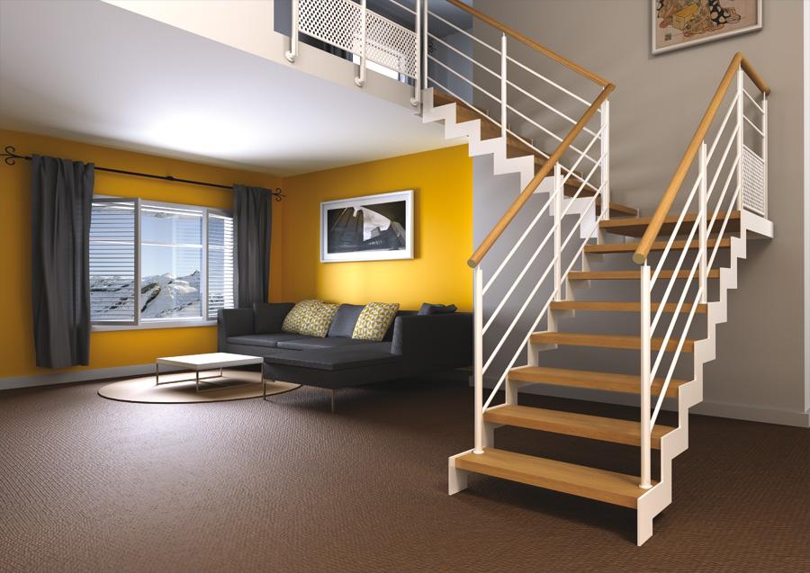 Escalier sur mesures charolles conception et pose - Escalier peint en gris et blanc ...